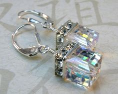 Crystal Earrings Sterling Silver Swarovski Elements by fineheart, $28.00