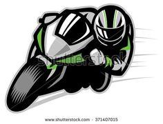Motorcycle race cornering - stock vector