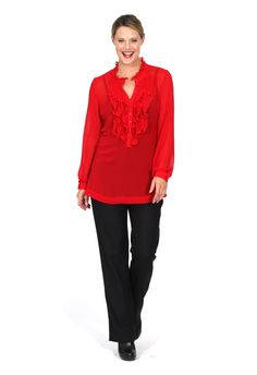 Redhead Office - Ruffle Front Plain Blouse. This gorgeous blouse has a gorgeous frill front that gives it a soft feminine look when worn with our suiting. It is available in Winter White, Red or Black. It is made in an easy care chiffon that is ideal for every day. Please note camisole underneath is model's own.