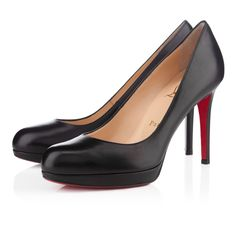 Chaussure Louboutin Pas Cher Pompes New Simple 100mm Kid Noir0 #redbottomshoes