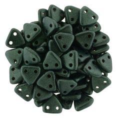 371-06-79052 CzechMates Triangle 6mm : Metallic Suede - Medium Blue/Green