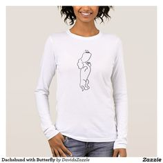 Dachshund with Butterfly Women's Tee  Available on more products! Type in the name of this design in the search bar on my Zazzle Products page!  #cartoon #drawing #illustration #dog #dachshund #black #white #ink #paper #digital #butterfly #insect #animal #pet #nature #earth #friend #friendship #family #love #fun #cute #cuddly #tee #shirt #clothes #fashion #apparel #child #women #men #style #lifestyle #buy #zazzle #sale #tank #hoody #sweatshirt #sleeve #long
