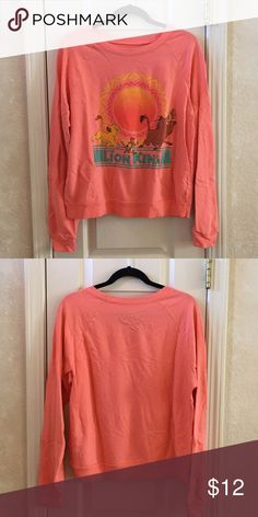 Lion King Pullover Coral/peach colored Lion King pullover. Thin sweatshirt material. Disney Tops