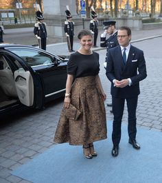 Crown Princess Victoria 2016-04-29 / celebrating the King's 70th birthday with a concert at Nordiska muséet. Skirt from H&M