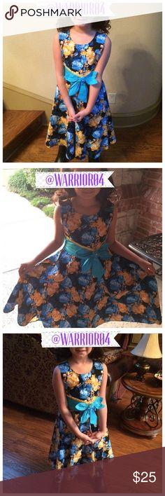 Sunboree Girls Turquoise & Black Flower Dress Sunboree Girls Turquoise & Black Flower Dress Size 10/12 Sunboree Dresses Formal