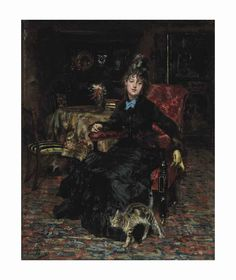 Giovanni Boldini (Italian, 1842-1931) Signora seduta con gatto signed 'Boldini' (lower left) oil on panel 9 ½ x 7 5/8 in. (24.1 x 19.3 cm.) Painted circa 1871.