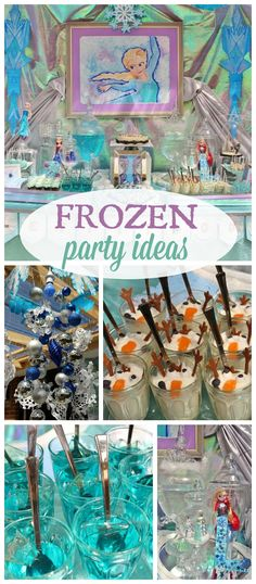 A Frozen girl birthday party with Elsa, Anna and Olaf and pretty party decorations!  See more party planning ideas at CatchMyParty.com!