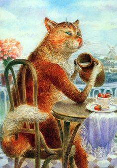 Painting cats Vladimir Rumyantsev. Life is good