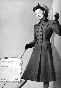 Vintage Vogue, jaren 40. Práchtige jas in een timeless design. Deze zou ik zo kopen als ik hem tegen zou komen in de winkel! Love it.