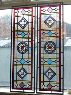 VICTORIAN-EDWARDIAN-STAINED-GLASS-PANELS-HAND-MADE-LEADED-LIGHT-GLASS-MADE