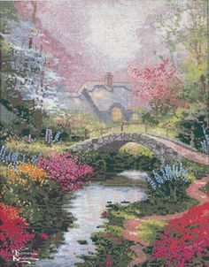 Thomas Kinkade Brookside Hideaway - Cross Stitch Kit