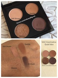 Eyeshadow Combos Vol 5 (MAC Eyeshadows) MAC Eyeshadow Combo and Quad idea (soft brown, saddle, bronze, embark) Mac Eyeshadow Looks, Mac Eyeshadow Swatches, Mac Makeup Looks, Best Mac Makeup, Bronze Eyeshadow, Eyeshadow For Brown Eyes, Makeup Swatches, Colorful Eyeshadow, Eyeshadows