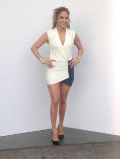 Jennifer Lopez wearing Giuseppe Zanotti pumps Self Portrait Black and White Tuxedo Dress