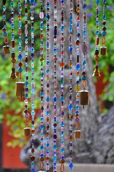 Beaded curtain-Glass Beaded Suncatcher- Window curtain-beaded door curtain-hanging door beads-beaded wall hanging-bohemian wall art-wall art by RonitPeterArt on Etsy Beaded Door Curtains, Hanging Curtains, Sheer Curtains, Hanging Door Beads, Crystal Beads, Glass Beads, Feng Shui, Bohemian Wall Art, Bohemian Living