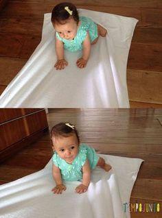 sorriso feliz na toalha