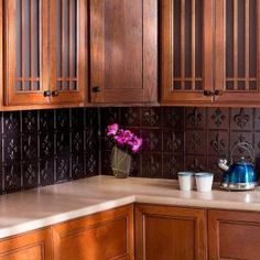 Shop for Fasade Fleur de Lis Smoked Pewter x Backsplash Panel. Get free delivery On EVERYTHING* Overstock - Your Online Home Improvement Shop! Get in rewards with Club O! Honey Oak Cabinets, Brown Cabinets, Cherry Cabinets, Backsplash Panels, Black Backsplash, Kitchen Backsplash, Kitchen Cabinets, Decorative Wall Tiles, Decorative Screens