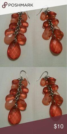 Cute Chandelier vintage earrings Beautiful melon colored maybe Orange dangle earrings Jewelry Earrings