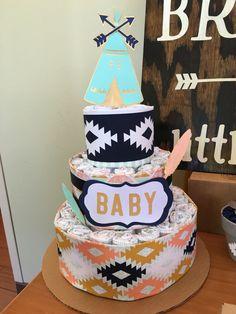 "Diaper cake for ""Be brave little one"" Tribal/boho/Indian gender neutral baby baby shower"