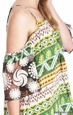 Umgee-Cold-Shoulder-Dress-Sheer-Sleeve-Hem-70s-Retro-Boho-Green-Shift-R6016 #Unique_Boho_Style