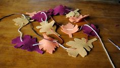Tutorial: Last Minute Fall Leaf Garland - great for a quick Thanksgiving decoration!
