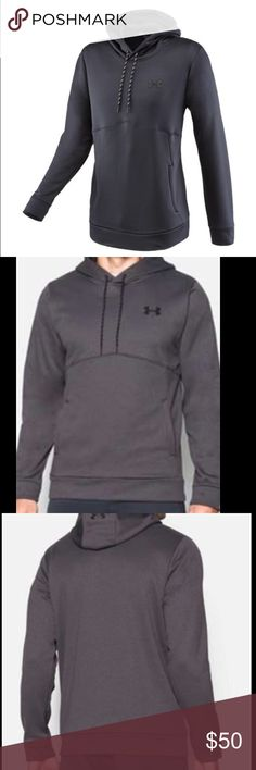 Under Armor Storm 1 Charcoal Fleece Hoodie NWT The Under Armour Storm Icon Hoodie in Carbon Heather is crafted with a loose fit with a generous cut. The UA Storm1 water resistant fabric features UA's Signature Moisture Transport System to wick away sweat. This long sleeve hoodie is made to trap and seal body heat and offer a secure fit. The Under Armour Hoodie features an attached hood with a crossover neckline. Perfect for sweat sessions in the gym or just lounging around. Under Armour…