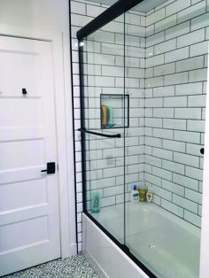 New Ways To Make Use Of Learn Flooring Ceramic Tile In Your Shower room Finest subway tile bathroom backsplash only in dova home design Hall Bathroom, Upstairs Bathrooms, Bathroom Renos, Bathroom Renovations, Modern Bathroom, Bathroom Ideas, Bathroom Baskets, Master Bathroom, Bathroom Hardware