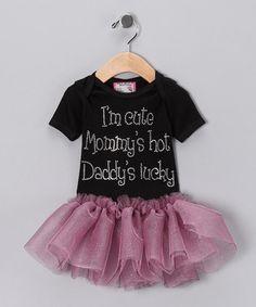 Black 'I'm Cute' Tutu Dress - Infant, Toddler & Girls