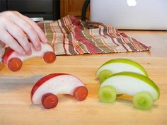 Apple Slice Cars - I could see @Katie Hrubec Schmeltzer Mays doing something like this for her boys!,  Go To www.likegossip.com to get more Gossip News!