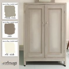 Paint treatment: french linen solid as base, dry brush with coco and old white. Add touches of champagne gold and finish off with clear wax. Colorways: Wardrobe Petite