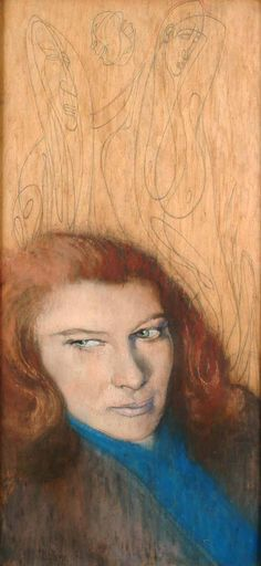 Austin Osman Spare – Portrait of a girl with red hair, 1948, pastel and pencil on board, 65.5 x 31 cm