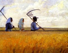 "Anna Ancher (Pittore danese 1859 - ""I Høstens Tid"" (Harvest Time), 1901 - Olio su tela, 63 x 82 cm. Skagen, Anna, Danish Country, Scandinavian Art, Harvest Time, Champs, Traditional Art, Art Museum, Art Journals"