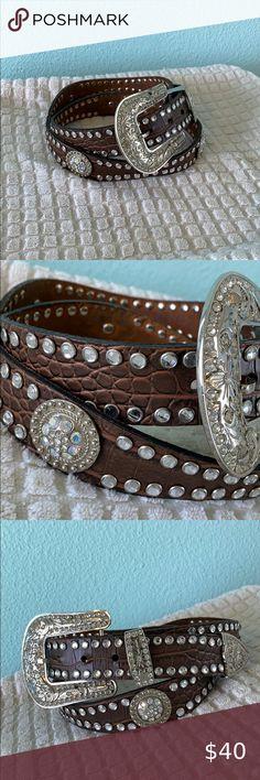 Western Rhinestone Crystal Bling Black Cross Snap On Buckle Leather Belt L ML