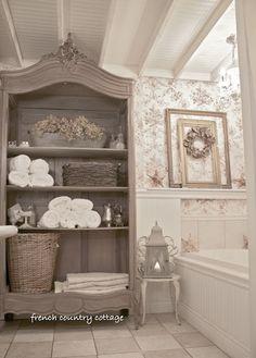 bathroom armoire- good reuse of an unused TV armoire
