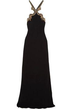 Roberto Cavalli - Open-back Embellished Stretch-crepe Halterneck Gown - Black - IT