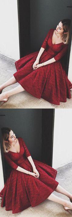 Beautiful Prom Dresses #BeautifulPromDresses, Lace Homecoming Dress #LaceHomecomingDress, Prom Dresses V-neck #PromDressesVneck, V-Neck Homecoming Dress #VNeckHomecomingDress, Burgundy Prom Dresses #BurgundyPromDresses Homecoming Dresses 2018