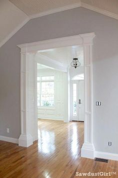 How to build big, bulky, decorative columns DIY: How to Build Decorative Columns for a Doorway - using stock lumber, MDF and trim mouldings. This is an excellent tutorial that shows each step - via Sawdust Girl: House Trim, New Homes, Remodel, House, Home Remodeling, Home, Interior, Home Diy, Remodel Bedroom
