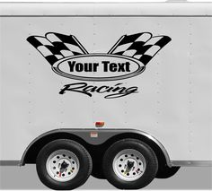 Checkered Flag Racing Team Name Trailer Decal - Vinyl Decal - Custom Text -Trailer Sticker - YT01A
