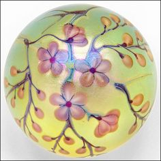 "Orient & Flume by Roberta Eichenberg Art- Nouveau Studio Glass Blossom Paperweight circa 1982 it measures 3 1/8"" in Diameter & is signed & dated on the foot/bottom - on eBay★❤★"