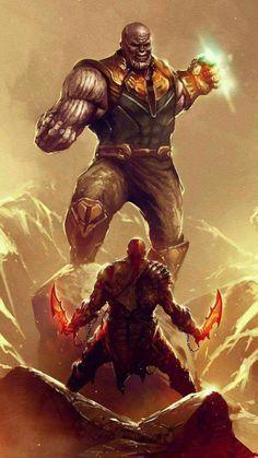 Thanos Vs Kratos Digital Art Mobile Wallpaper (iPhone, Android, Samsung, Pixel, Xiaomi) - Best of Wallpapers for Andriod and ios Iphone Mobile Wallpaper, Cool Wallpaper, Good Of War, Comic Book Characters, Comic Books, Ninja Armor, Geeks, Kratos God Of War, Bff Drawings