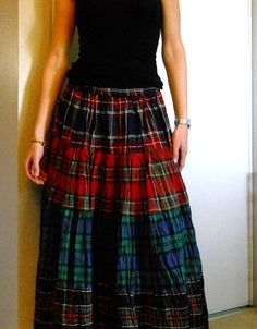 Vintage 80s Plaid Boho Maxi Skirt