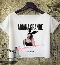 ariana grande crop top dangerous woman tour 2016 Shirt women Crop Top cropped A1 #Handmade #BasicTee