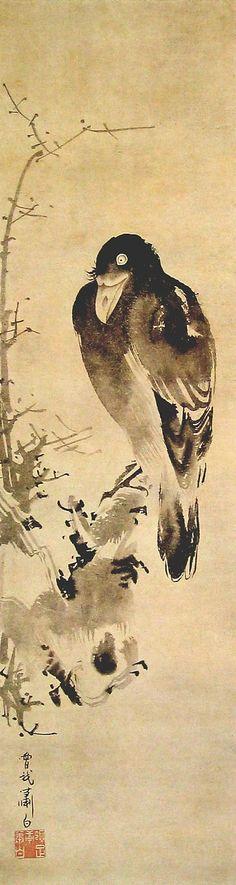 曽我蕭白 Shohaku Soga『叭々鳥図』