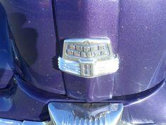 1947 Ford Super Deluxe 8 hood branding.