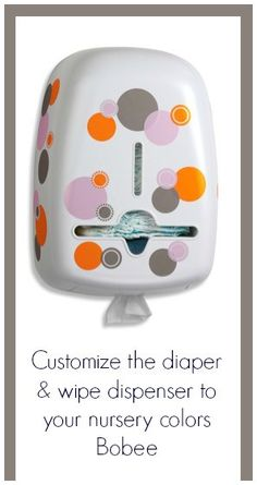 The Bobee diaper & wipe dispenser comes white so you can color coordinate to your nursery room decor. Add the included polka dot decals or any peel and stick wall stickers. Organize your diapers & wipes convenient to your changing area. Available at buybuy BABY. CLICK TO PURCHASE.