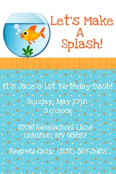 Fathers Day Fishing Theme Party Goldfish Party Jello Cups And - Goldfish birthday invitation