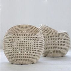 Powder-coated metal frame is intricately hand-woven with high quality all-weather synthetic wicker and peel. Suitable for outdoor use. Seat Dimension: x x Recycled Furniture, Wicker Furniture, Furniture Design, Outdoor Furniture, Cane Furniture, Casa Cook, Outdoor Stools, Upcycled Home Decor, Wicker Baskets