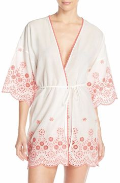 IN BLOOM BY JONQUIL EMBROIDERED COTTON ROBE WHITE/CORAL $59 - PICK UP OR SHIPS FREE WORLDWIDE! BET PRICE GUARANTEE - MAJOR CREDIT CARDS ACCEPTED - SHOP OUR SSL SECURE WEBSITE: SophiaSpano.com