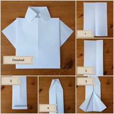 Easy DIY Fathers Day Origami shirt card kids can make.  #FathersDay