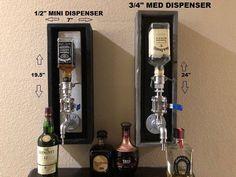 Mini Liquor Dispenser (for 375 ml bottles) Rustic Basement Bar, Basement Bar Plans, Basement Bar Designs, Basement Ideas, Whiskey Dispenser, Alcohol Dispenser, Resin Patio Furniture, Bottle Wall, Small Bottles