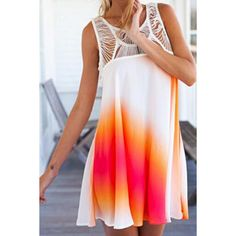 Trendy Scoop Neck Lace Splicing Sleeveless Dress For Women